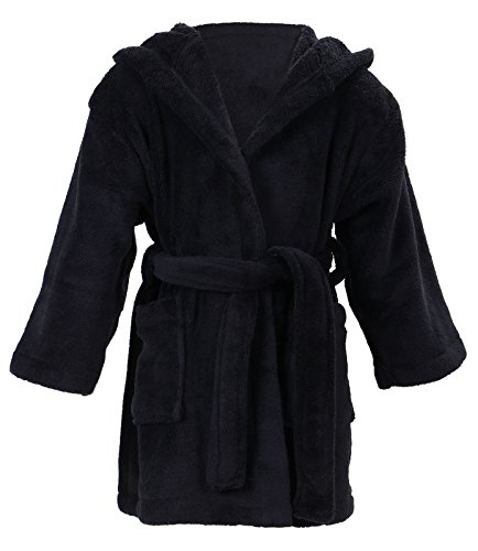 EPYA Kids Boys Girls Plush Kimono Robe Velvet Fleece Bathrobe, Black, L