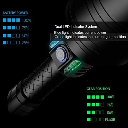 Alinory Portable Flashlight, Large Wide Angle Lens Torch, Durable for Outdoor Camping