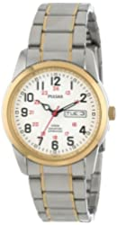 Pulsar Men's Two-Toned Watch With White Dial