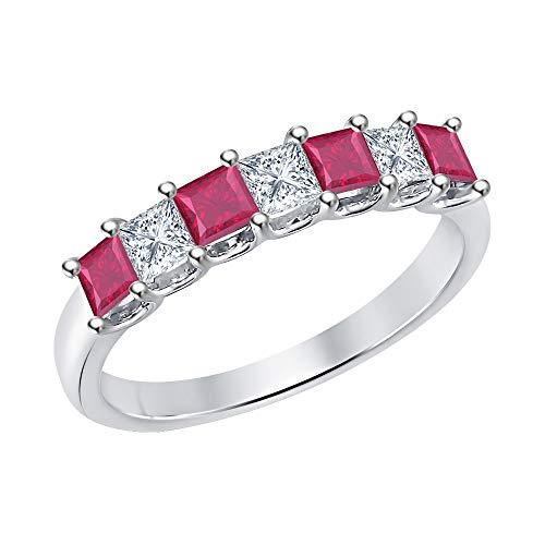 Princess Cut Ruby & White Diamond Half Eternity 14k White Gold .925 Sterling Silver Wedding 7-Stone Band Ring for Women