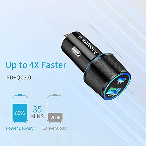 Meagoes USB C Car Charger, 36W 2-Port Fast Charging Adapter with PD&QC3.0 Compatible for Samsung Galaxy S21/S20 Plus/Ultra/S10/S9/Note 20/10, iPad Pro, Google Pixel, iPhone 11/Pro/Max -3ft Type C Cord