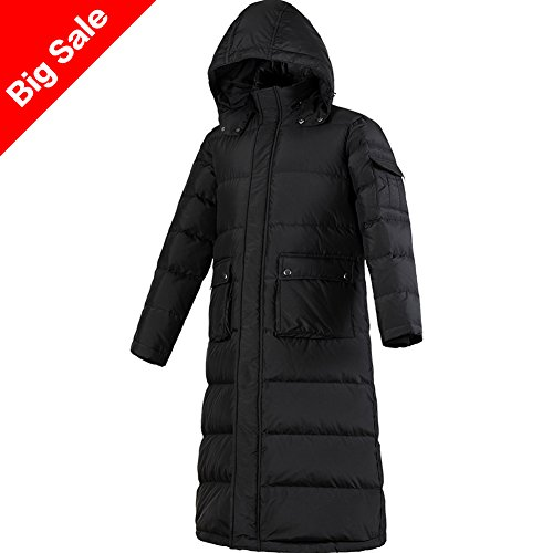 Puffer Mens (PANLTCY Men's Packaged Down Puffer Jacket With Hooded Compressible Long Coat (X-Large, Black))