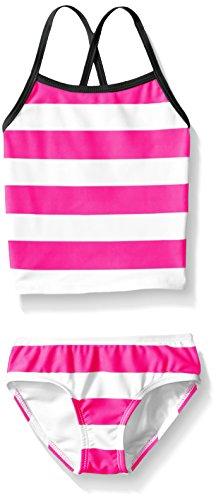 2 Piece Tankini Bathing Suit - Kanu Surf Little Girls' Toddler Layla Stripe Tankini Swimsuit, Pink, 4T