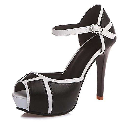ODEMA Women Peep Toe High Heel Buckle Platform Pumps Casual Party Court Shoes Black 67tDZdM
