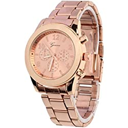 Winhurn Hot Sale Classic Stainless Steel Quartz Women Wrist Watch (Rose Gold)