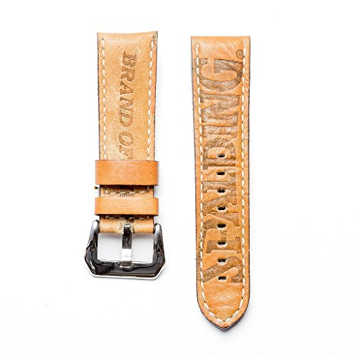 Baseball Leather Watch Strap - Limited Edition Stylish Lug With 24mm Milano Straps (24mm, Stainless Steel Polish) by Milano Straps (Image #2)