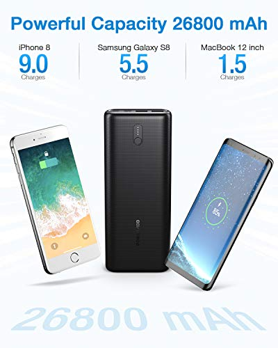 Power Bank 26800mAh, 30W PD QC3.0 Portable Charger, Fast Charging External Battery Pack with USB C Input, Tri-Outputs Backup Charger Compatible with iPhone 8/X/XR/11/12/12 Pro, Samsung, iPad and More