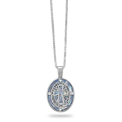 Ancient Roman Glass Necklace with Filigree Cross Sterling Silver Made in Israel Box Chain Included ()