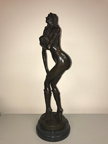 - girl bent over poster - GIRL WITH THONG - MASSIVE BREASTS - REAL BRONZE - TALL BOOTS - POSING MODEL - SEXY CURVES - Bronze Statue 10 Pounds