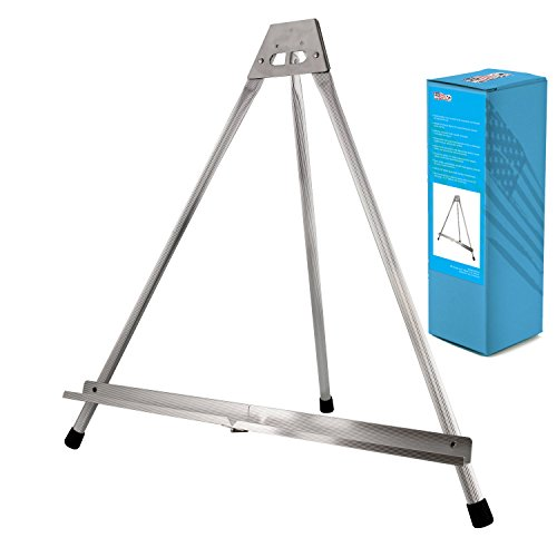 Display Pod - US Art Supply Aluminum Tabletop Easel Tri-Pod Display Table Top Design with Rubber Feet (Large - NO Arms)