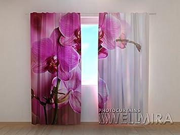 Design Gardinen 3D Vorhänge Bedruckt Blumen Vorhang Orchidee Motiv  Fotovorhang Fotogardine Dekoschals 2Tlg. Set,