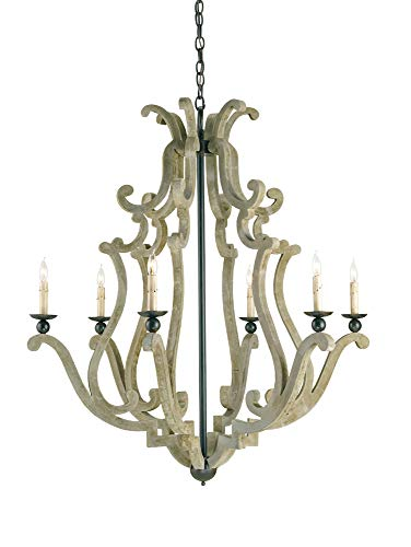 Currey and Company 9636 Durand - Six Light Chandelier, Old Iron/Portland ()