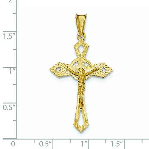 Satiné poli 14 carats et Crucifix de taille diamant pendentif-JewelryWeb