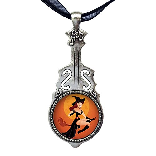 (GiftJewelryShop Sexy Halloween Witch on Broom Over Moon Retro Style Music Theme Guitar Pendant Charm)