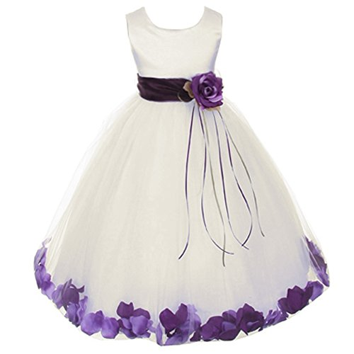 Big Girls Ivory Sleeveless Satin Bodice Floating Flower Petals Girl Dress with Matching Organza Sash and Double Tulle Skirt - Eggplant Set - Size 8