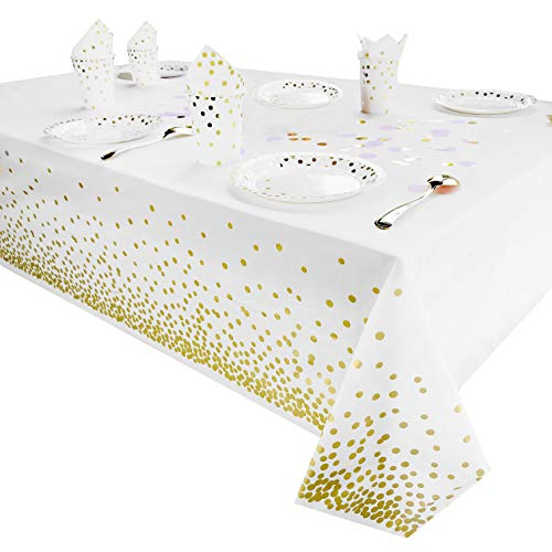 White And Gold Table Decorations (Plastic Tablecloth for Parties, Party Table Cloths Disposable, Gold Dots Decorations, White, Waterproof, Rectangular Table Cover, 54 Inch x)