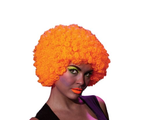 Neon Clown Orange Afro Wig - Rubie's Afro Rave Humor Neon Wig,