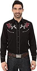 Roper Men's 65P/35R Twill w/ Thistle Roses Embroidery Black Button-up Shirt LG