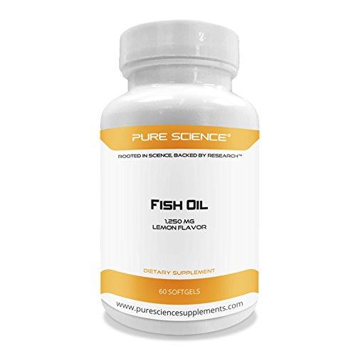 Pure Science Fish Oil 1250mg Omega-3, Lemon Flavored