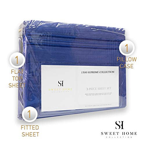 1500 Supreme Collection Extra Soft Twin XL Sheets Set, Royal Blue - Luxury Bed Sheets Set with Deep Pocket Wrinkle Free Hypoallergenic Bedding, Over 40 Colors, Twin XL Size, Royal Blue