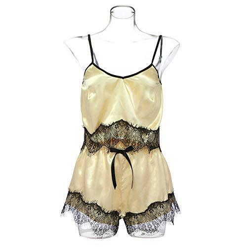 High end Women Pajama Sets Sexy Lace Satin Sleepwear Bow Sling Nightwear Babydoll Lingerie Intimate Ladies Pijama Mujer Plus Size 18Jan12