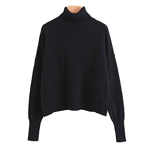 L'automne et l'hiver les couleurs solides high collar knit sweater girl grande pochette pull en laine en vrac Black