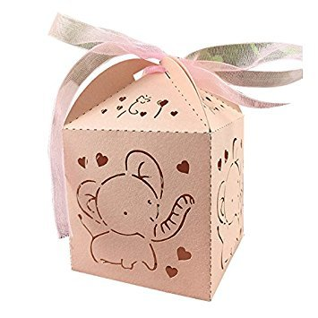 TOOGOO(R) 10pcs Elephant Hollow Carriage Favors Box Gifts Candy Boxes With Ribbon Baby Shower Wedding Event Party Supplies(light pink)555cm