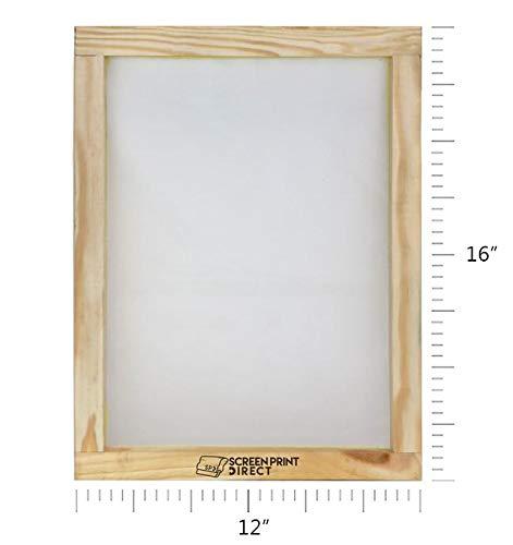 "Ecotex 16/"" x 12/"" Wood Screen Frame with 155 Mesh for Screen Printing DIY T-Shirt Printing"