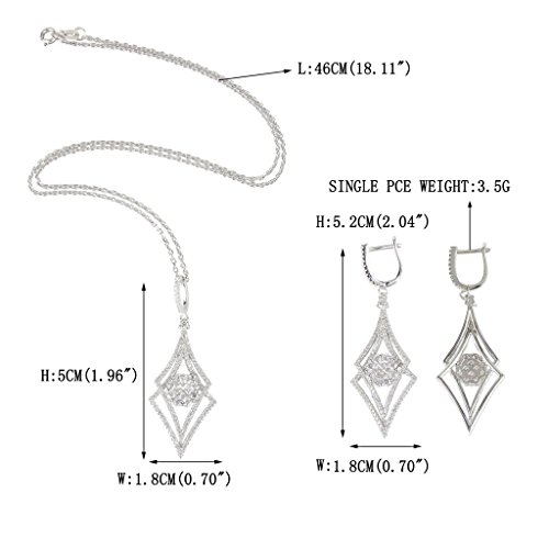 EVER FAITH Silver-Tone Zircon Elegant Double Rhombus Shaped Pendant Necklace Earrings Set Clear by EVER FAITH (Image #3)'