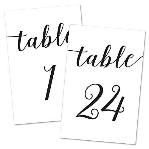 Script 4x6 Table Number Cards 1-24 (Black) -