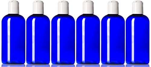 Newday Bottles, Plastic Bottle 4 Oz Cobalt Blue Boston Round PET BPA-Free with Hand Press Smooth White Disc Cap Lid, Pack of - Boston Pet Round Bottles Plastic