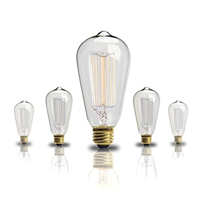Edison Bulb,SROOD 60w Filament Long Life Vintage Antique Style Incandescent-Dimmable
