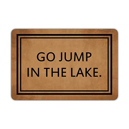 Joelmat Go Jump in The Lake Entrance Non-Slip Outdoor/Indoor Rubber Door Mats for Front Door/Garden/Kitchen/Bedroom 23.6
