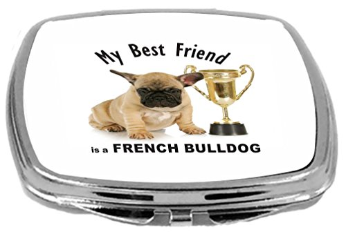 Rikki Knight Best Friend is a French Bulldog Brown Trophy Design Compact Mirror, 17 Ounce