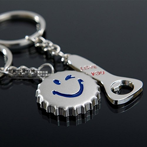 K55 Cartoon Smiley Bottle Opener Couple Keychain Lovers Key Ring Chain Funny Gift 6Pieces/ 3pairs/ Lot