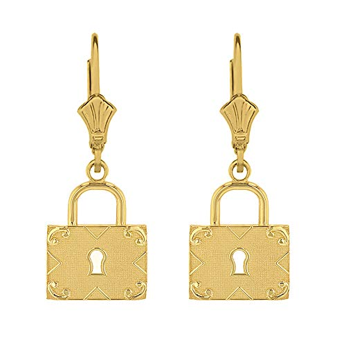 Solid 14k Yellow Gold Swirl Square Padlock, lock Leverback Earrings