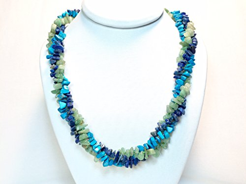Multi Stone Chip Beaded Torsade Necklace with Blue Lapiz Aventurine and Howlite in Sterling Silver