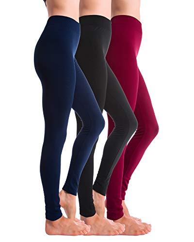 Homma 3-Pack Fleece Lined Thick Brushed Leggings (S/M/L, Black/Navy/Burgundy)