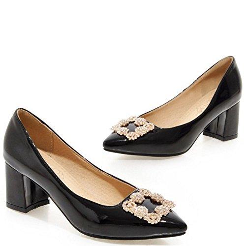 Mid Patent Pumps On Black Slip TAOFFEN Heel Women Elegant Shoes WqCwccARO