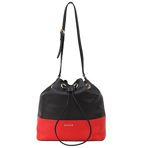 (Banuce Patchwork Soft Real Leather Handbag for Women Drawstring Bucket Shoulder Bag Ladies)