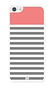 iZERCASE White Grey Coral Stripes RUBBER iPhone 5C Case- Fits iPhone 5C T-Mobile, AT&T, Sprint, Verizon and International