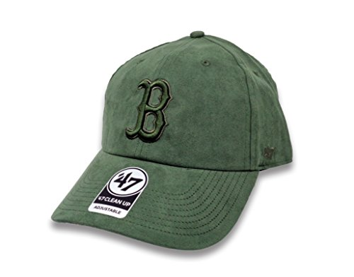 fan products of 47 Brand Boston Red Sox Ultrabasic Suede Tonal Clean Up Slouch Fit Hat (Olive)
