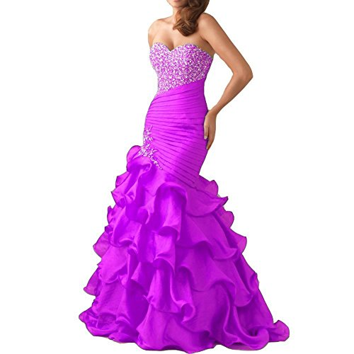 H.S.D Women's Ruffles Sweetheart Mermaid Beaded Organza Prom Dresses Lilac Beaded Silk Organza Dress