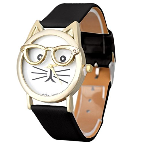 Winhurn Super Cute Cat Glasses Design Analog Quartz Women Wrist Watch (Black)