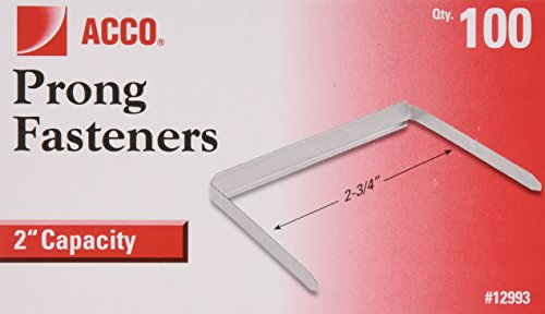 ACCO 2 Inch Capacity Prong Fastener Bases, 2.75 Inch Centers, 100 Bases per Box (A7012993H)