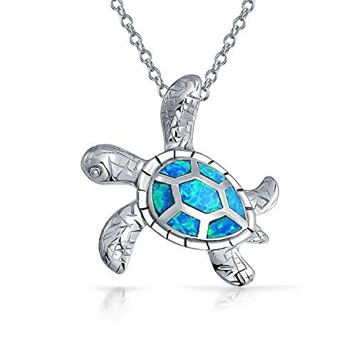 Large Nautical Blue Created Opal Inlay Sea Tortoise Turtle Pendant Necklace For Women For Teen 925 Sterling -