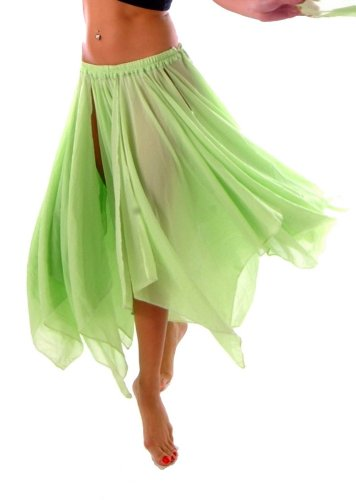 BELLY DANCE ACCESSORIES 13 PANEL CHIFFON SKIRT - LIME -