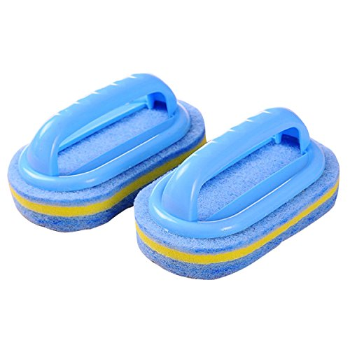 CY Household Cleaning Supplies for Kitchen, Bathroom - Plastic Handle Sponge Brush - Tile, Shower Bathtub Scrubber, Set of 2, Color Send by Random by chuangyu