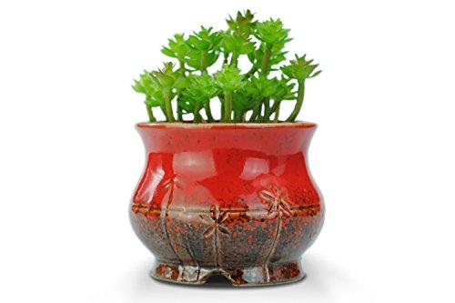 VanEnjoy Vintage Style Round Ceramic Succulent Pot, Multi Color/Colorful Glazed, Indoor Home Décor Cactus Flower Bonsai Pot Planter Container, 4.3 inches (Red, 1)