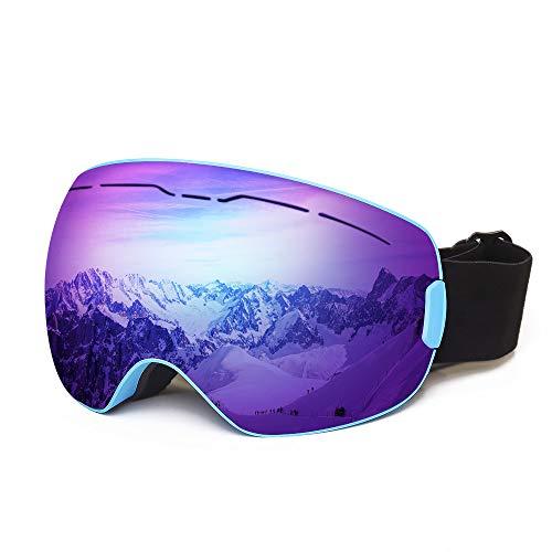 ROGSFN Anti-Fog ski Goggles for Men Womens & Youth Skiing Frameless Over Mirrored Glasses Helmet Compatible UV Protection,Cool Winter Sport Snowboard Goggles-Blue Frame Blue Lens